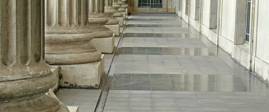 Law and order pillars outside a courthouse